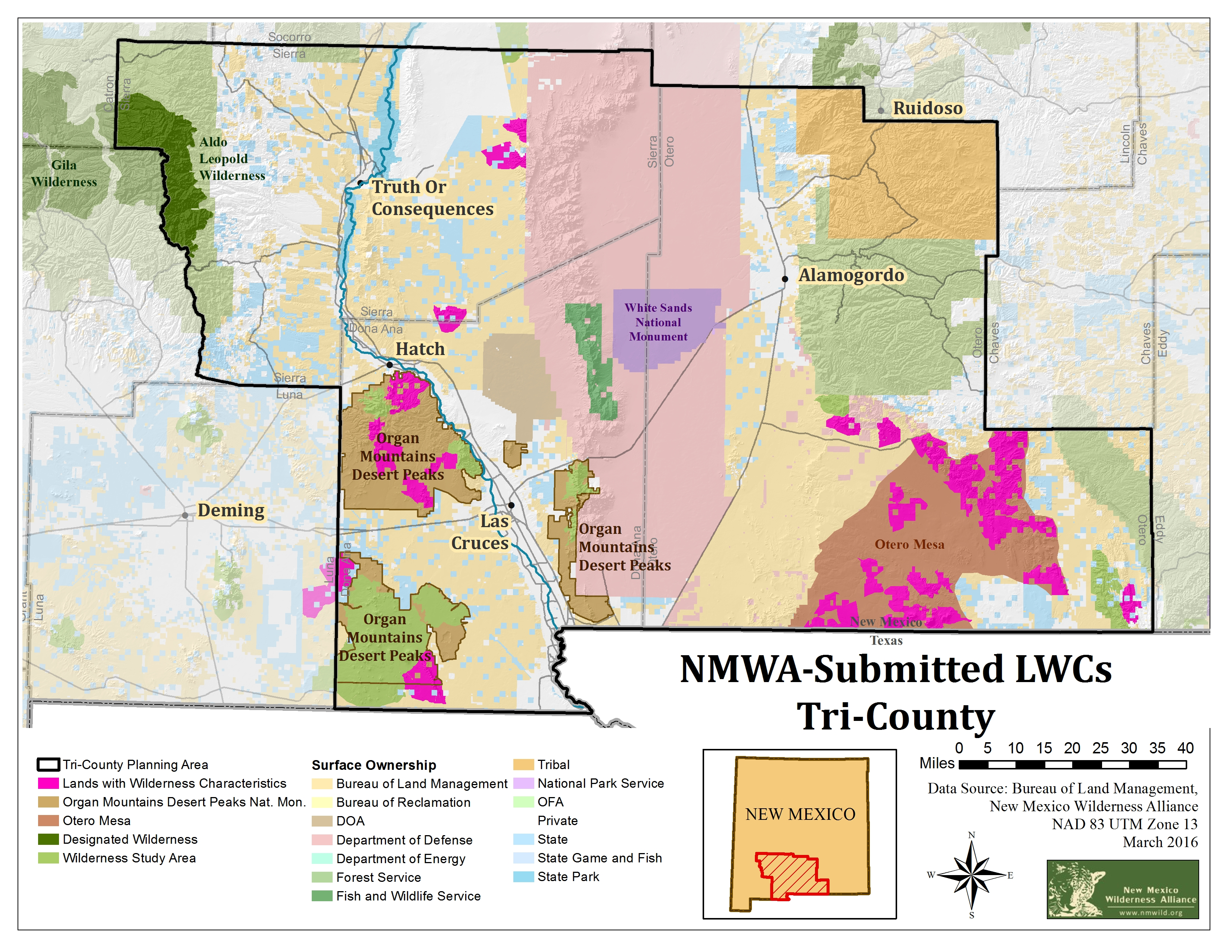 Map Recommended Lands With Wilderness Characteristics In The Las