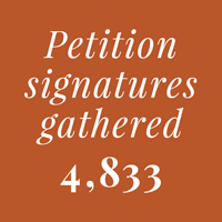 Petition signatures gathered - 4,833